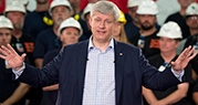 Conservative leader Stephen Harper speaks during a campaign stop at a steel manufacturer in Burlington, Ont., on Tuesday, Sept. 1, 2015. (Adrian Wyld / THE CANADIAN PRESS)