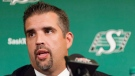 Saskatchewan Roughriders interim general manager Jeremy O'Day speaks during a press conference held at Mosaic Stadium in Regina on Tuesday, Sept. 1, 2015. THE CANADIAN PRESS/Michael Bell