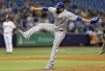 Kansas City Royals' Kelvin Herrera follows through on a pitch to the Tampa Bay Rays during the eighth inning of a baseball game in St. Petersburg, Fla. on Friday, Aug. 28, 2015. (AP / Chris O'Meara)