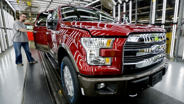 Ford F-150 on assembly line