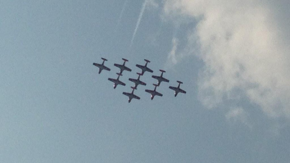 The Snowbirds perform at the Rotary Charity Airshow at the Brantford Municipal Airport on Wednesday, Sept. 2, 2015. (Dan Lauckner / CTV Kitchener)