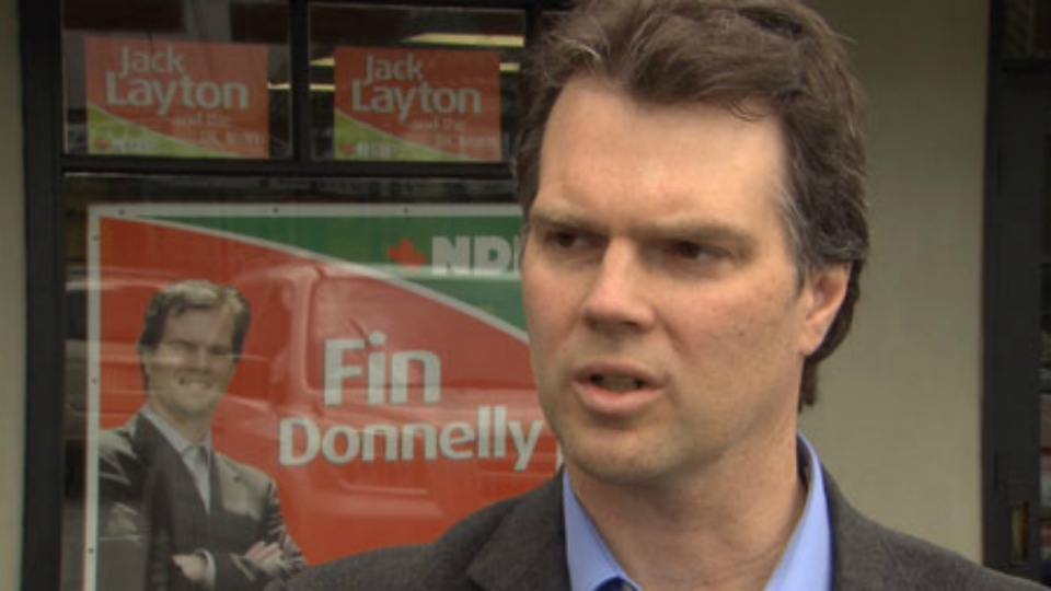 NDP candidate Fin Donnelly speaks to CTV News in 2011.