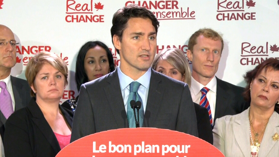 Liberal Leader Justin Trudeau speaks in Brossard, Que., Thursday, Sept. 3, 2015.