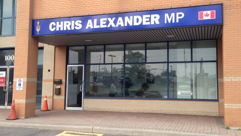 Immigration Minister Chris Alexander has closed his campaign office in Ajax, Ont. (Peter Leclair / CTV News Toronto)