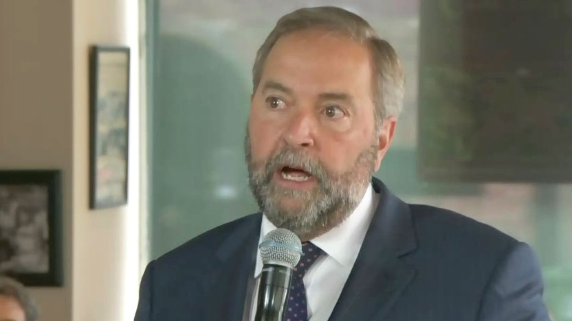 NDP Leader Tom Mulcair comments on the migration crisis Thursday, Sept. 3, 2015.