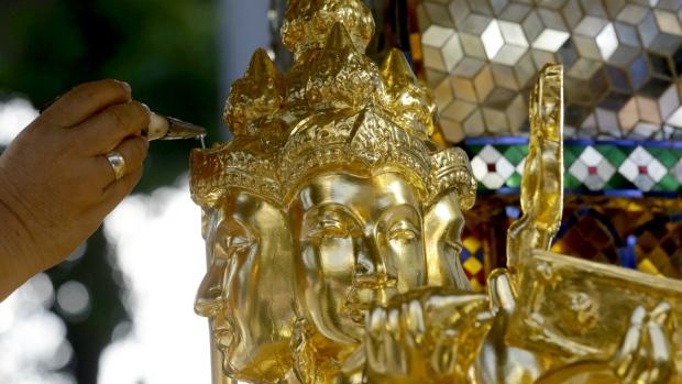 Restored statue in Bangkok shrine