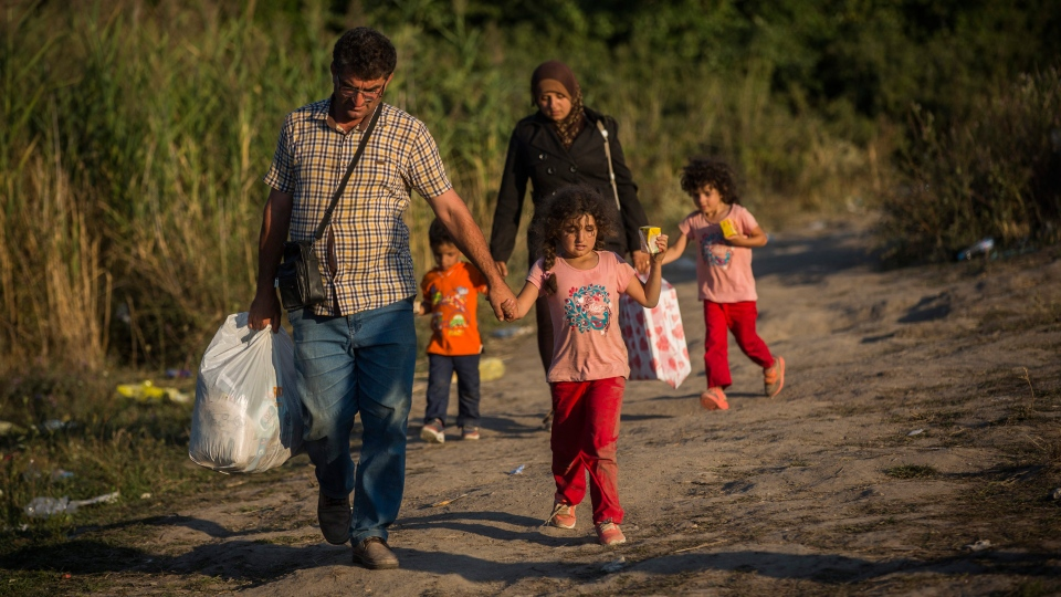 Syrian refugees cross the border from Macedonia to Serbia next to the train station of Tavanovce, on Friday Aug. 28, 2015. (AP / Santi Palacios)