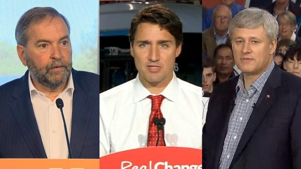 NDP Leader Thomas Mulcair, Liberal Leader Justin Trudeau and Conservative Leader Stephen Harper.