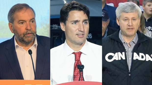 NDP Leader Thomas Mulcair, Liberal Leader Justin Trudeau and Conservative Leader Stephen Harper at various events across Canada Friday, Sept. 4, 2015.