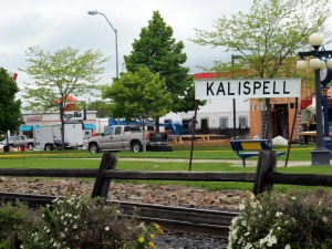 In this photo taken Thursday, June 16, 2011, a sign near an old railroad station is shown in Kalispell, Mont. (Nicholas K. Geranios / AP Photo)