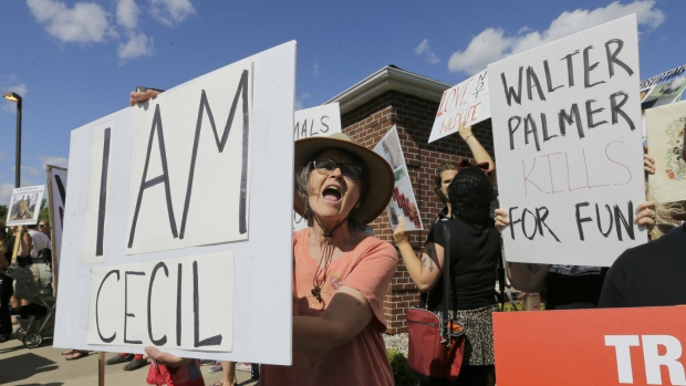 Protesters outside Walter Palmer's office