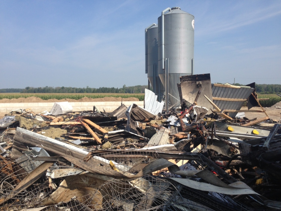 A barn on a poultry farm was destroyed by fire.