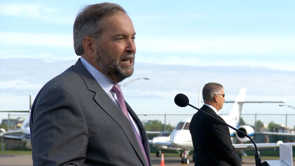 NDP Leader Tom Mulcair makes a campaign announcement in Dorval, Que. on Tuesday, Sept. 8, 2015.