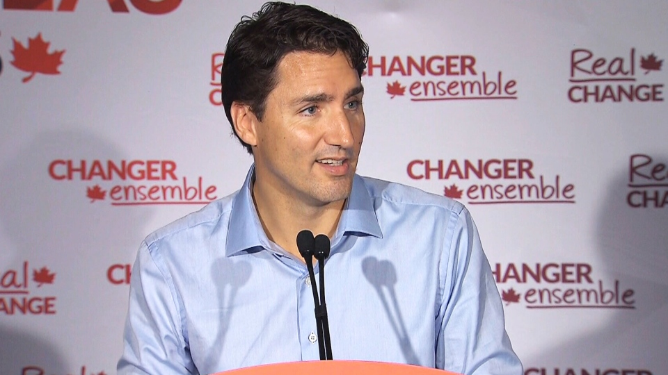 Liberal Leader Justin Trudeau speaks at a campaign event in Amherst, N.S., on Tuesday, Sep. 8, 2015.