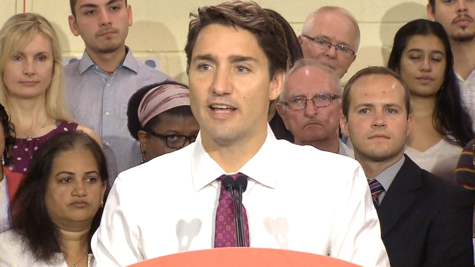 Liberal Leader Justin Trudeau speaks during a campaign event in Toronto, Wednesday, Sept. 9, 2015.