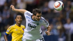 Vancouver Whitecaps' Octavio Rivero, of Uruguay, scores a goal against the Colorado Rapids during the second half of an MLS soccer game in Vancouver, B.C., on Sept. 9, 2015. (Darryl Dyck / THE CANADIAN PRESS)