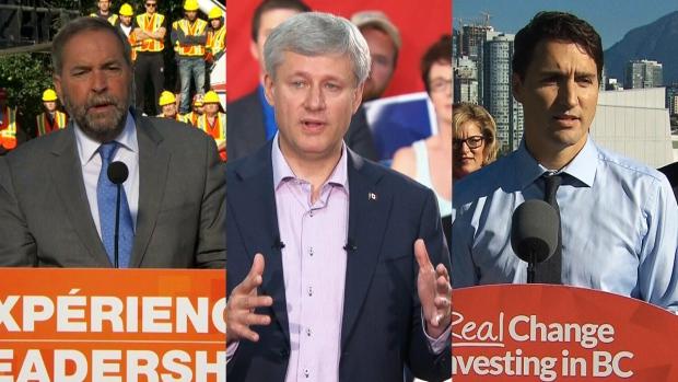 Party leaders Mulcair, Harper and Trudeau