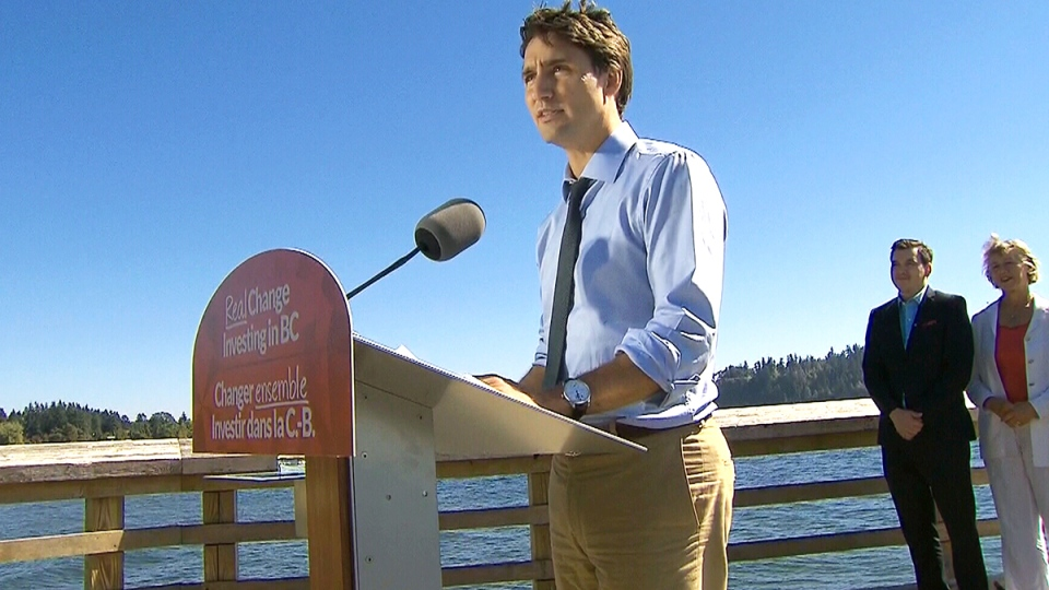 Liberal Leader Justin Trudeau makes an announcement in downtown Vancouver, on Thursday, Sept. 10, 2015.