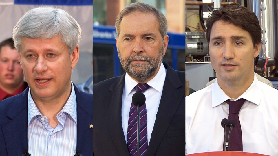 This composite image shows Conservative Leader Stephen Harper, NDP Leader Thomas Mulcair, and Liberal Leader Justin Trudeau.