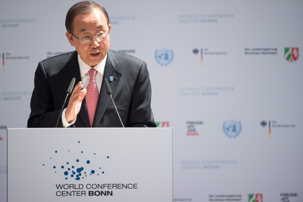 UN secretary General Ban Ki-moon delivers a speech during the opening ceremony of the World Conference Center in Bonn, Germany on June 7, 2015. (Marius Becker/ dpa via AP)