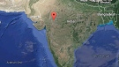 India can be seen in this Google map image.