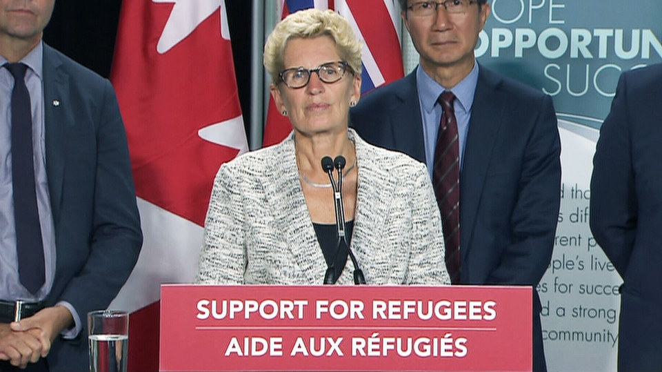 Ontario Premier Kathleen Wynne announces $10.5 million in funding to help settle refugees Saturday, Sept. 12, 2015.