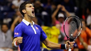 Novak Djokovic after breaking Roger Federer's serve to win a game in the fourth set during the men's championship match of the U.S. Open, on Sept. 13, 2015. (AP / David Goldman)