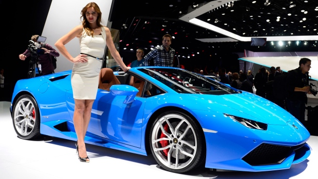 A Lamborghini Huracan LP 610-4 Spyder is presented on the first press day of the Frankfurt Auto Show IAA in Frankfurt, Germany, Tuesday, Sept. 15, 2015. (AP / Jens Meyer)