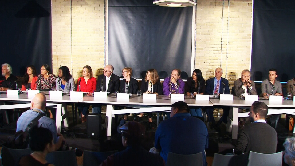 Activists and high-profile Canadians attend a press conference on the 'Leap Manifesto.'