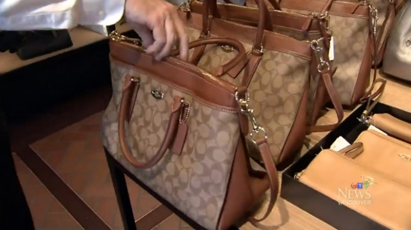 This Big Morgan Batch Classic Signature Coach bag was sold at both the Canadian and U.S. outlet stores. It was $18.00 less to buy it at the Seattle Premium Outlets, taking tax, sales and the exchange rate into account. (CTV)