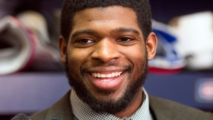 Montreal Canadiens defenceman P.K. Subban speaks to reporters after the team's practice Tuesday, Jan. 7, 2014 in Brossard. (Ryan Remiorz / THE CANADIAN PRESS)