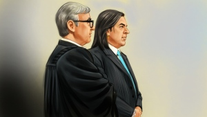 In this artist's rendition, Sen. Patrick Brazeau appears in court in Gatineau, Que. on Tuesday, Sept. 15, 2015. (Greg Banning / THE CANADIAN PRESS)