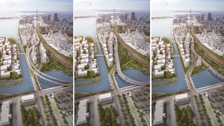 Three 'hybrid' options for the Gardiner Expressway are shown in this image from a City of Toronto staff report.