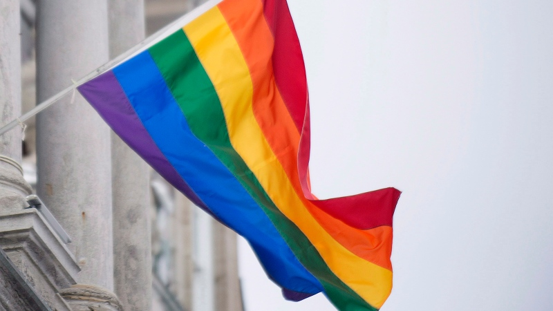 The rainbow flag flies over city hall in Montreal, Friday, Feb. 7, 2014. (The Canadian Press/Graham Hughes)