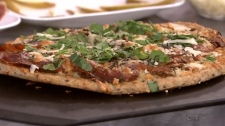 Grilled Pizza with Pear, Prosciutto, Cheese & Cara
