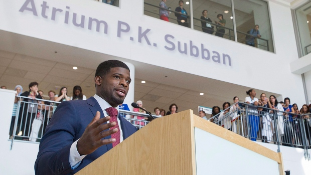 Montreal Canadiens defenceman P.K. Subban smiles during a press conference at the Children's Hospital in Montreal, Wednesday, September 16, 2015, where he announced that his foundation would pledge $10-million to the hospital over the next seven years. (Graham Hughes / THE CANADIAN PRESS)