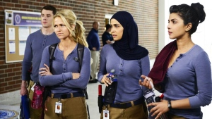 Brian J. Smith, from left, Johanna Braddy, Yasmine Al Massri and Priyanka Chopra appear in a scene from 'Quantico,' premiering Sept. 27, on CTV. (Guy D'Alema/CTV)