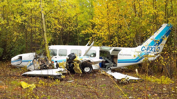 Wreckage of the Keystone Air Services Ltd. airplane in Thompson, Manitoba is shown in an image from the Transportation Safety Board of Canada. The plane crashed on Sept. 15, 2015. Eight people survived. (File Image)