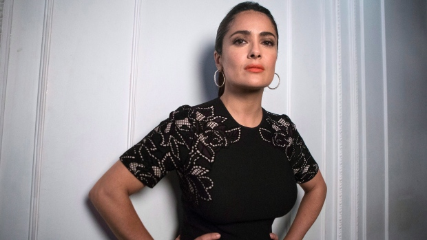 Salma Hayek is pictured in Toronto as she promotes 'Septembers in Shiraz' during the 2015 Toronto International Film Festival on Wednesday , Sept. 16, 2014. (THE CANADIAN PRESS/Chris Young)