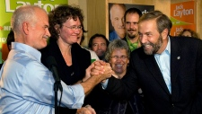 Layton, Lagace Dowson and Mulcair in Montreal