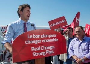 Liberal Leader Justin Trudeau addresses supporters during a campaign stop on Friday, Sept. 18, 2015, in Montreal. (The Canadian Press/Paul Chiasson)