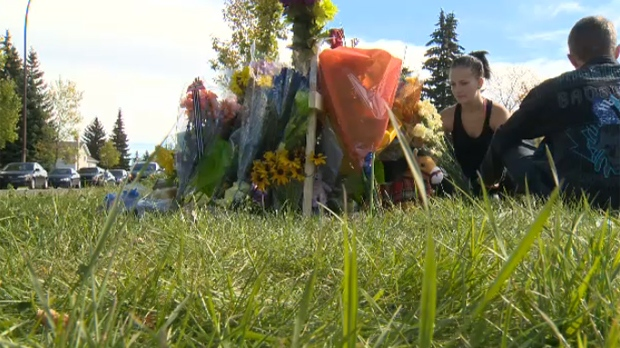 Memorial tribute for Nick Paswisty, fatally struck by a vehicle in Erin Woods Friday morning