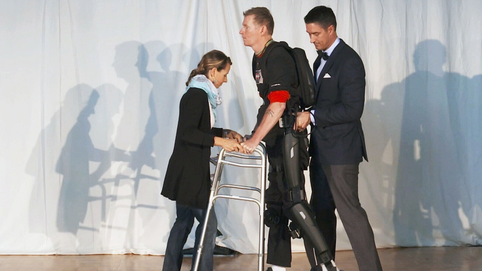 Trevor Greene, a Canadian war vet who nearly died after an axe attack in Afghanistan, is relearning how to walk with a state-of-the-art exoskeleton designed by engineers and neuroscientists at a B.C. university.