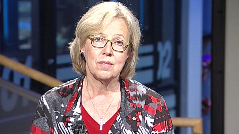 Green Party Leader Elizabeth May appears on CTV's Question Period, Sunday, Sept. 20, 2015.
