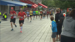 Runners participate in the 25th Montreal marathon Sunday, Sept. 20 2015.
