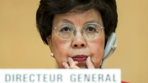 World Health Organization Director-General Dr. Margaret Chan waits for the opening of the 67th World Health Assembly at the European headquarters of the United Nations in Geneva, Switzerland on May 19, 2014. An Aug. 3, 2014 email from Chan to senior WHO staffers said logistics experts were receiving only a couple hundred dollars a week to cover thousands of dollars in expenses for basics for the Ebola outbreak in the summer of 2014. She warned that WHO needed to respond efficiently if it was to retain its leadership in the fight against Ebola. (Jean-Christophe Bott / Keystone)