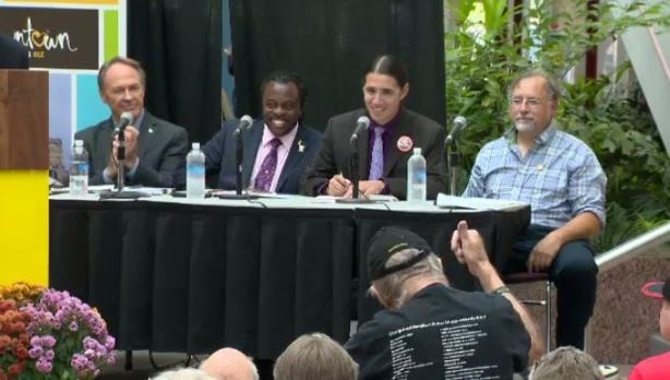 NDP candidate Pat Martin, Green Party candidate Don Woodstock, Liberal candidate Robert-Falcon Ouellette, and Communist Party candidate Darrell Rankin at the debate on September 16th.