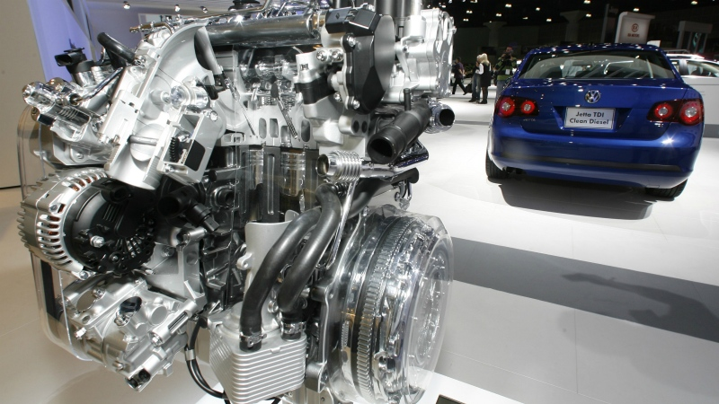 A Volkswagen Jetta TDI diesel engine is displayed at the Los Angeles Auto Show on Nov. 20, 2008. (AP / Damian Dovargnes)