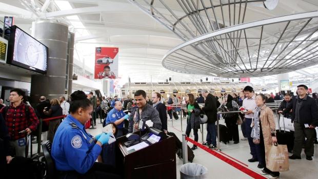 Security screening at JFK Airport