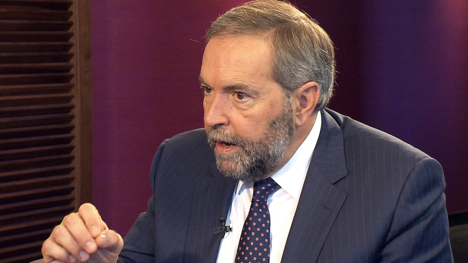 NDP Leader Tom Mulcair speaks during an interview with CTV Atlantic's Steve Murphy, Monday, Sept. 21, 2015.